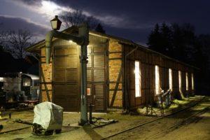 Der Lokschuppen bei Nacht, Frühjahr 2020, Foto: Oliver Schaer