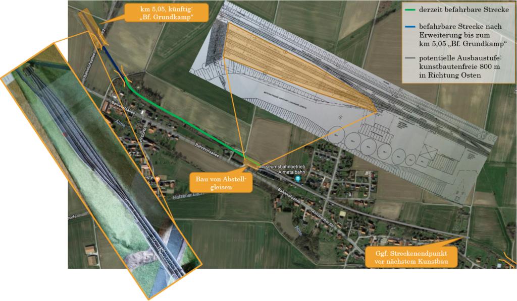 """Abstellgleise im Museumsbahnhof und Modell des Endpunktes """"Haltepunkt Grundkamp"""" (Quelle Karte: google earth)"""